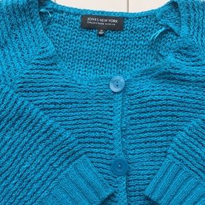 Jones NY Colection Bright Blue crochet cardigan 1X